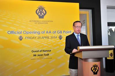 Mr Bernard Tay, Pr esident AA Singapore, at the official opening of AA Singapore at  GB Point, Kallang Bahru which was graced by Guest - of - Honour, Mr Jean Todt,  President of the Fédération Internationale de l'Automobile (FIA)