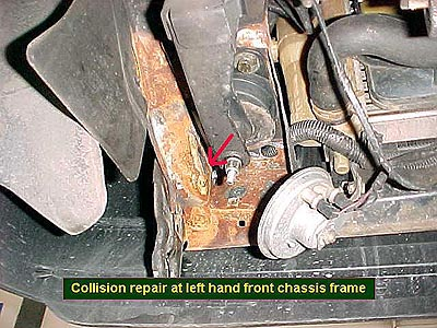 Collision repair at left hand front chassis frame